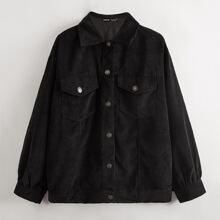 Flap Pocket Drop Shoulder Cord Coat
