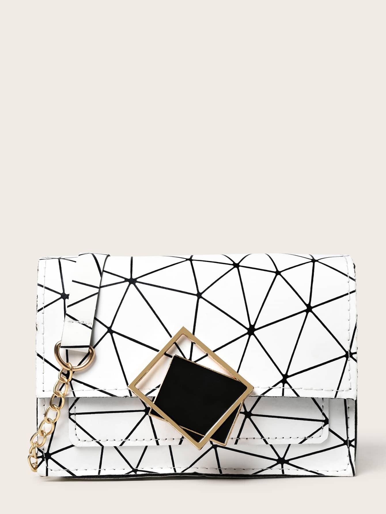 Geometric Decor Flap Crossbody Bag thumbnail