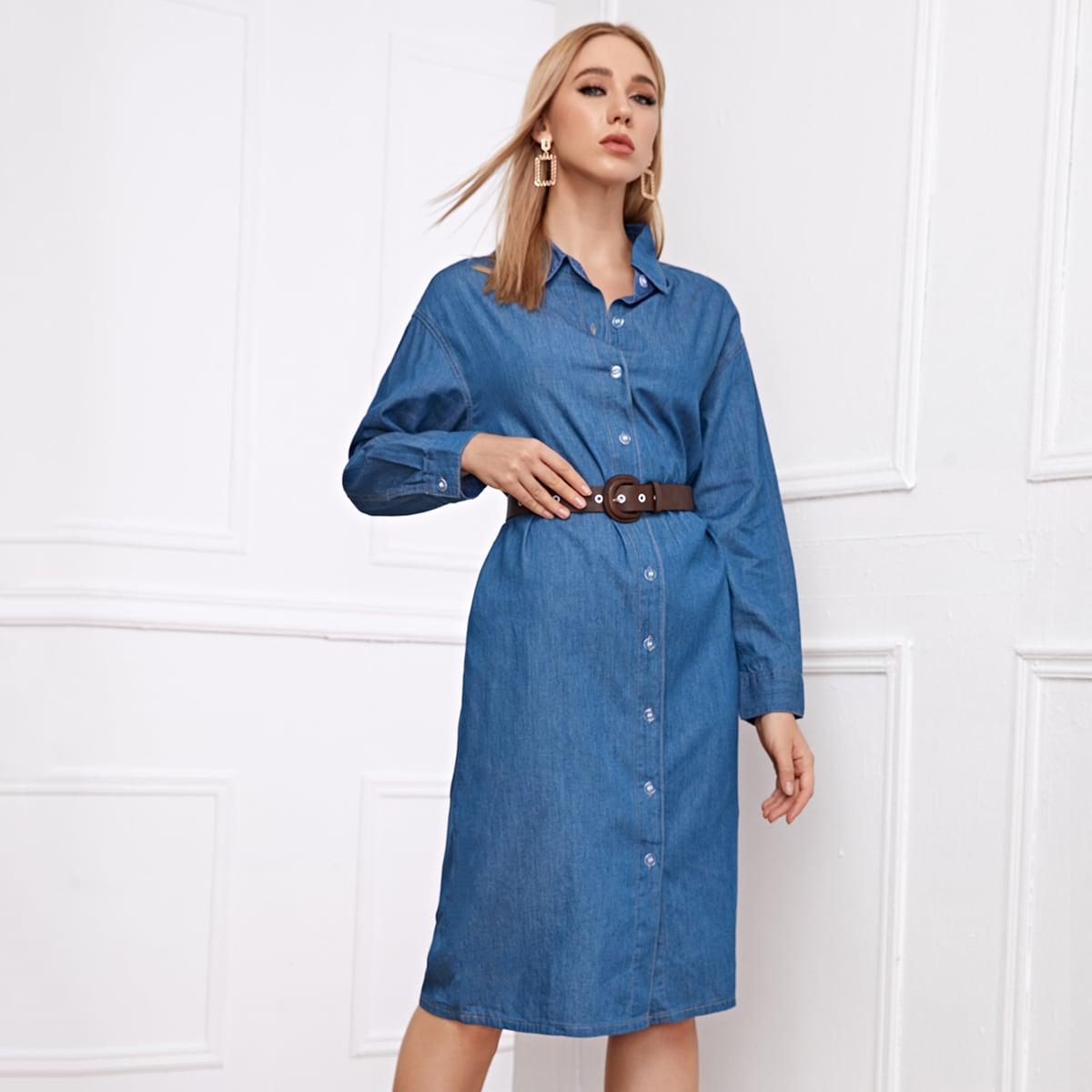 Джинсовое платье на пуговицах с поясом