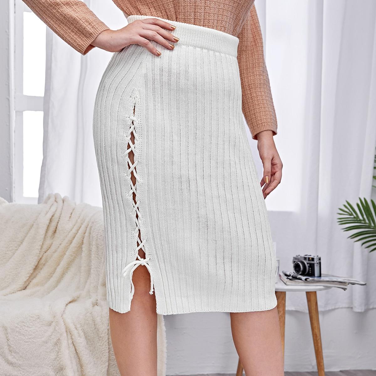Со шнуровкой одноцветный элегантный трикотажные юбки размер плюс