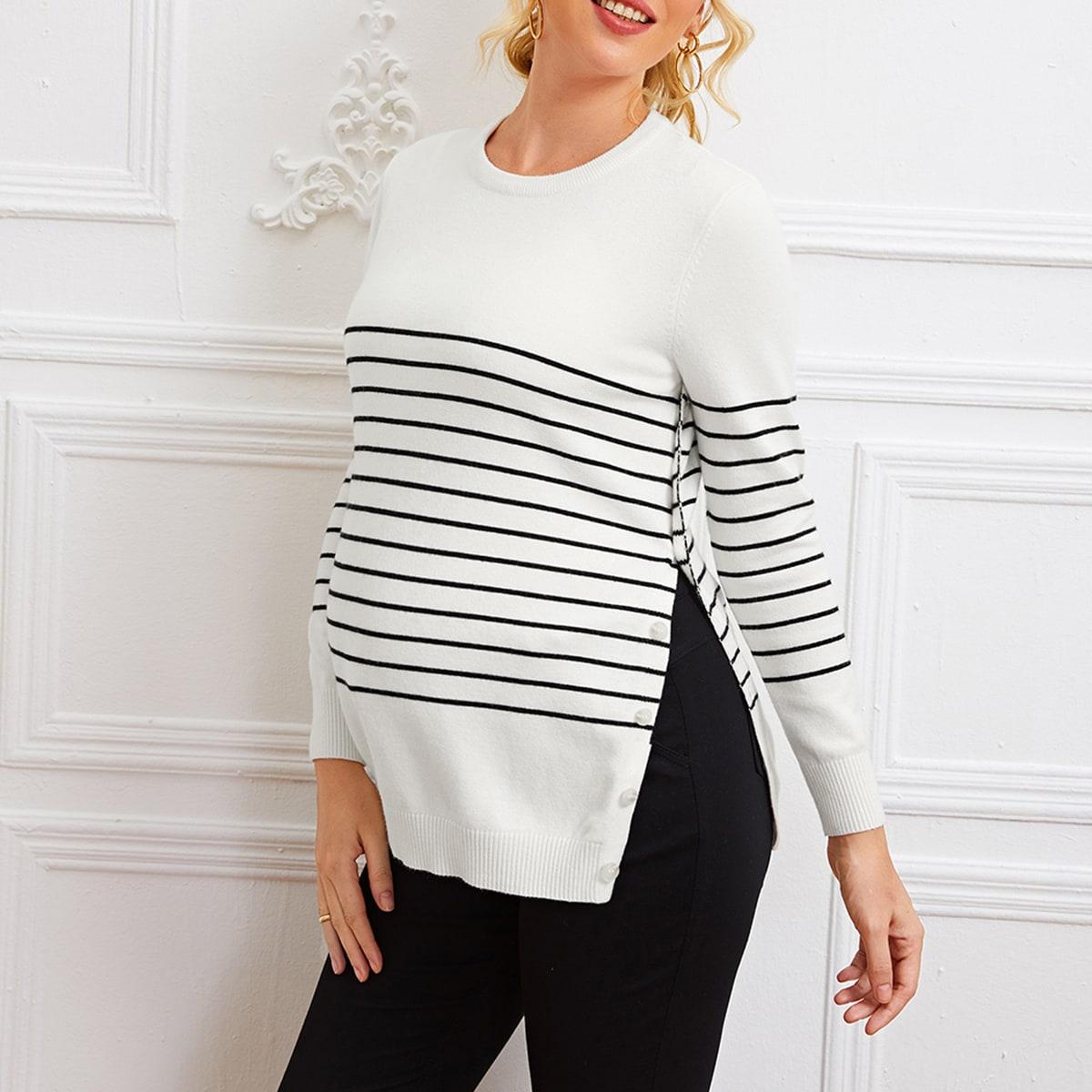 Полосатый свитер с разрезом для беременных