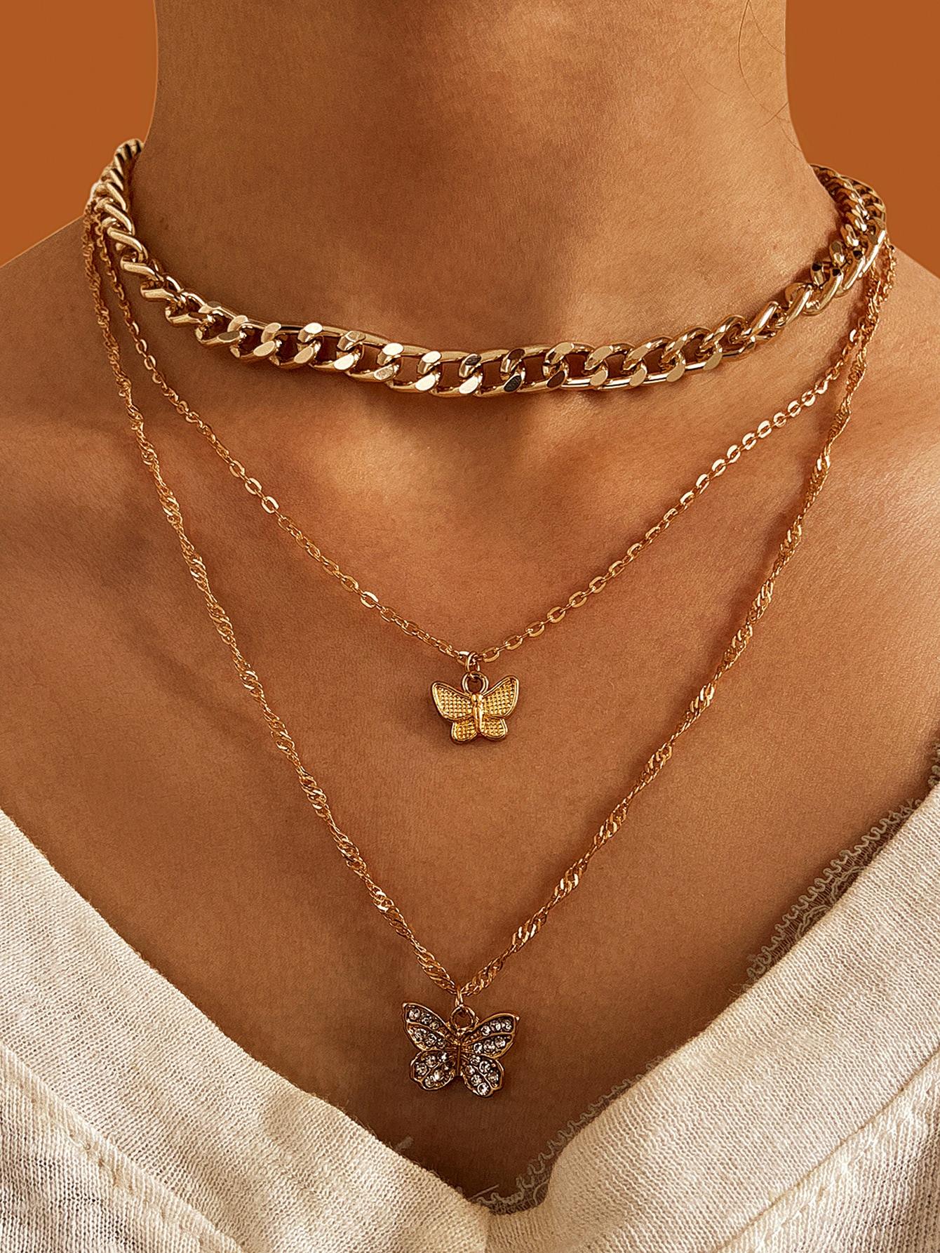 3pcs Butterfly Decor Necklace thumbnail