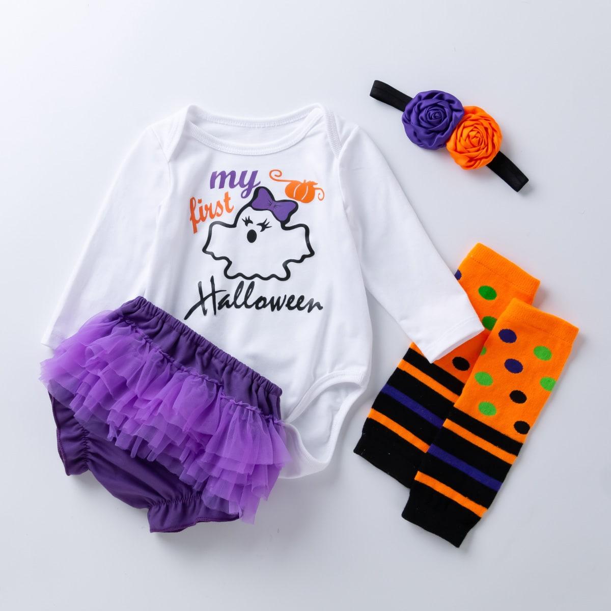 """4шт боди с принтом """"хэллоуин"""", шорты с оборкой, гетры и повязка на голову для девочек"""