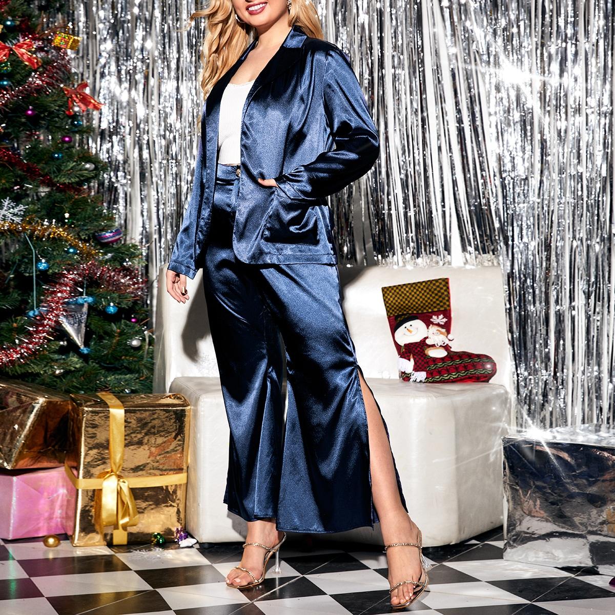 Атласный пиджак с поясом и брюки с разрезом размера плюс