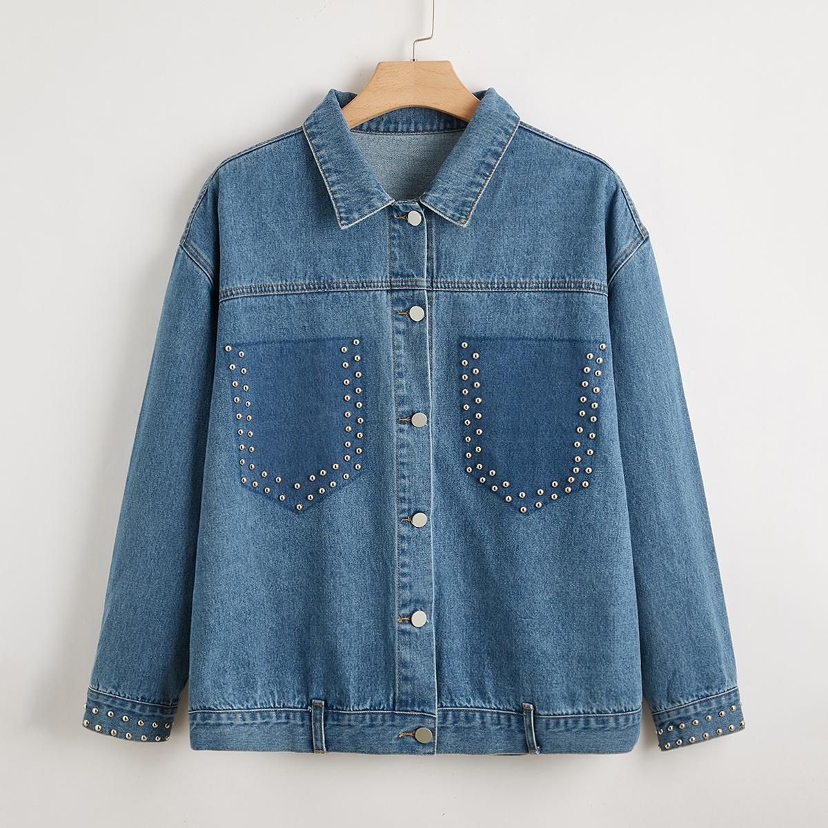 Джинсовая куртка размера плюс с бусинами