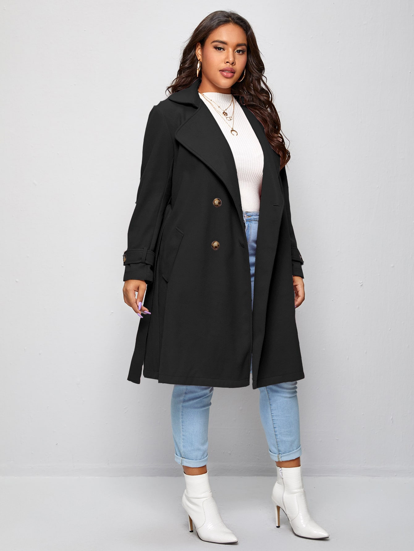 Plus Lapel Collar Double Breasted Self Tie Overcoat thumbnail