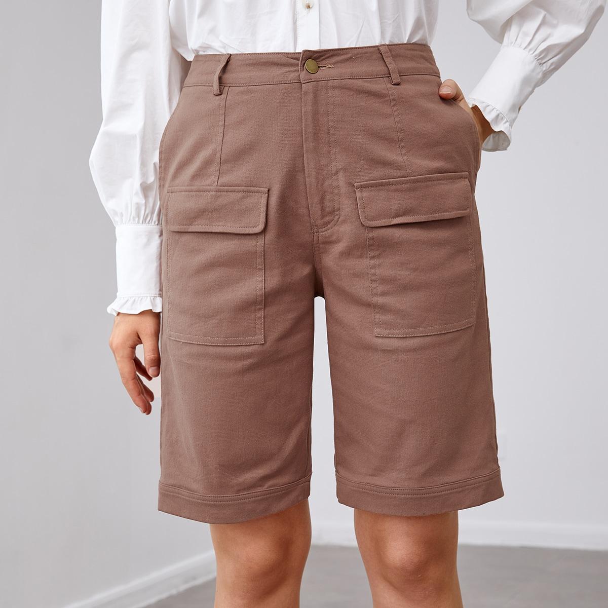 Однотонные шорты с карманом