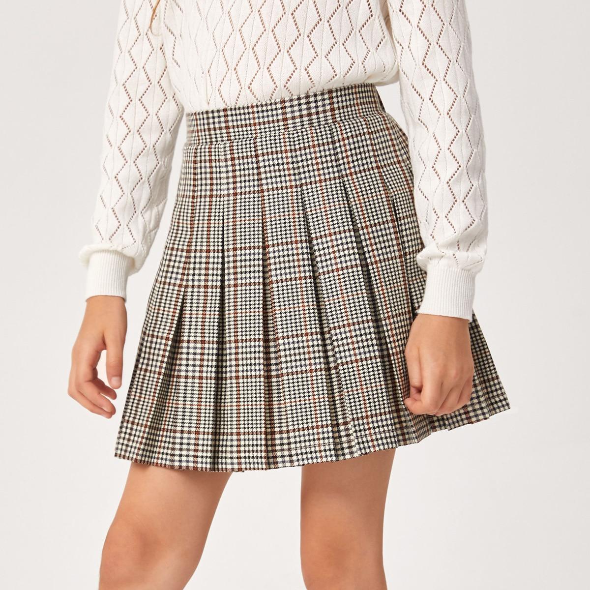 Плиссированная юбка в клетку для девочек