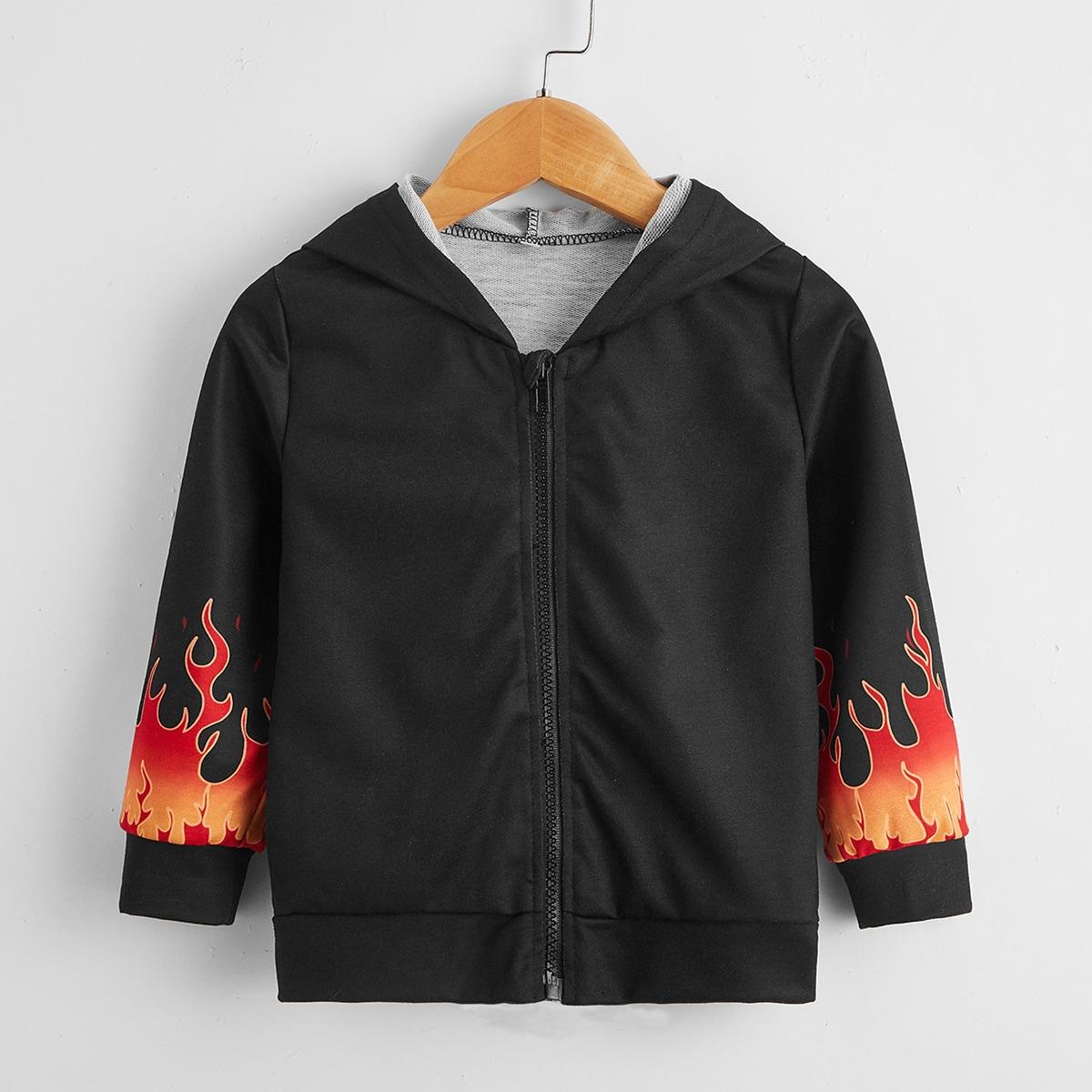На молнии огонь повседневный куртки для мальчиков