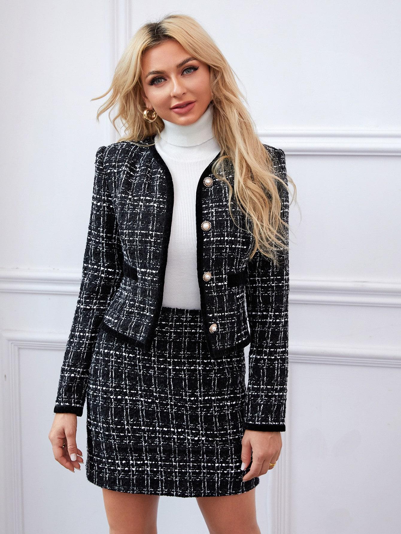 Button Front Plaid Tweed Jacket & Skirt Set thumbnail