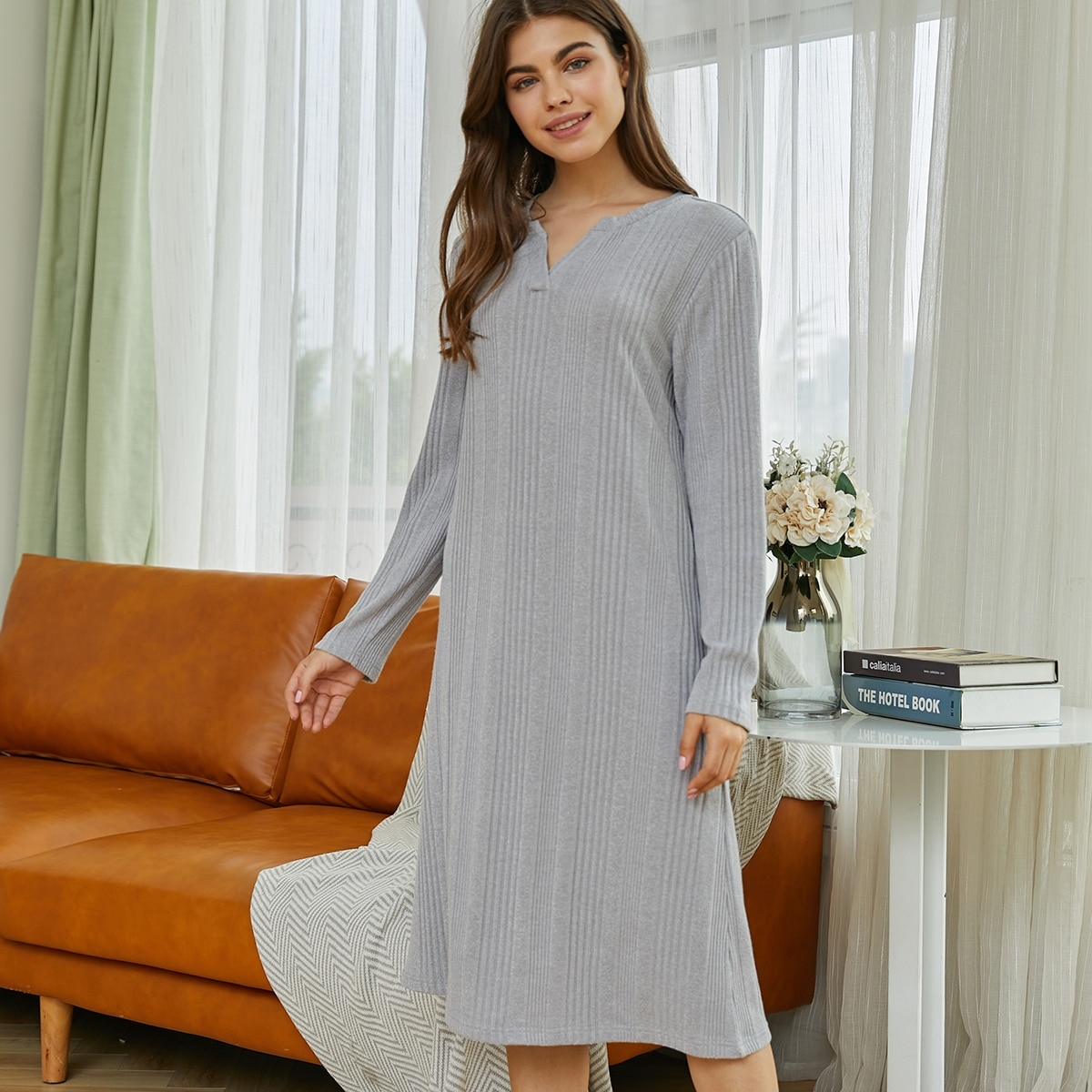 Однотонное домашнее платье