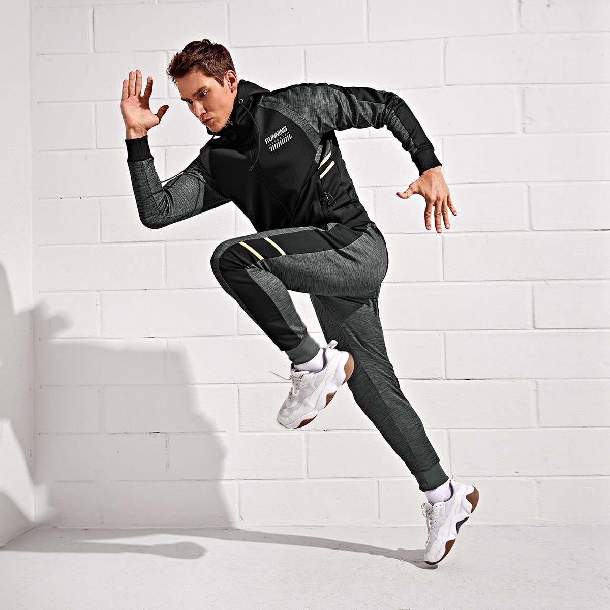 Мужские спортивные брюки и куртка с капюшоном и текстовым принтом