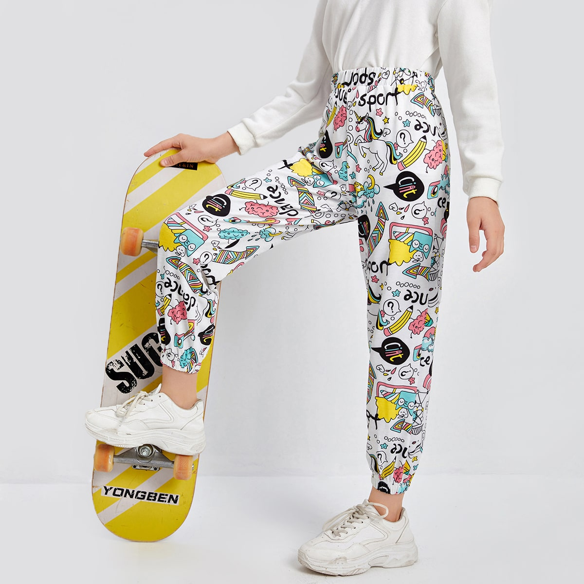 Girls Unicorn and Letter Graphic Sweatpants, SHEIN  - buy with discount