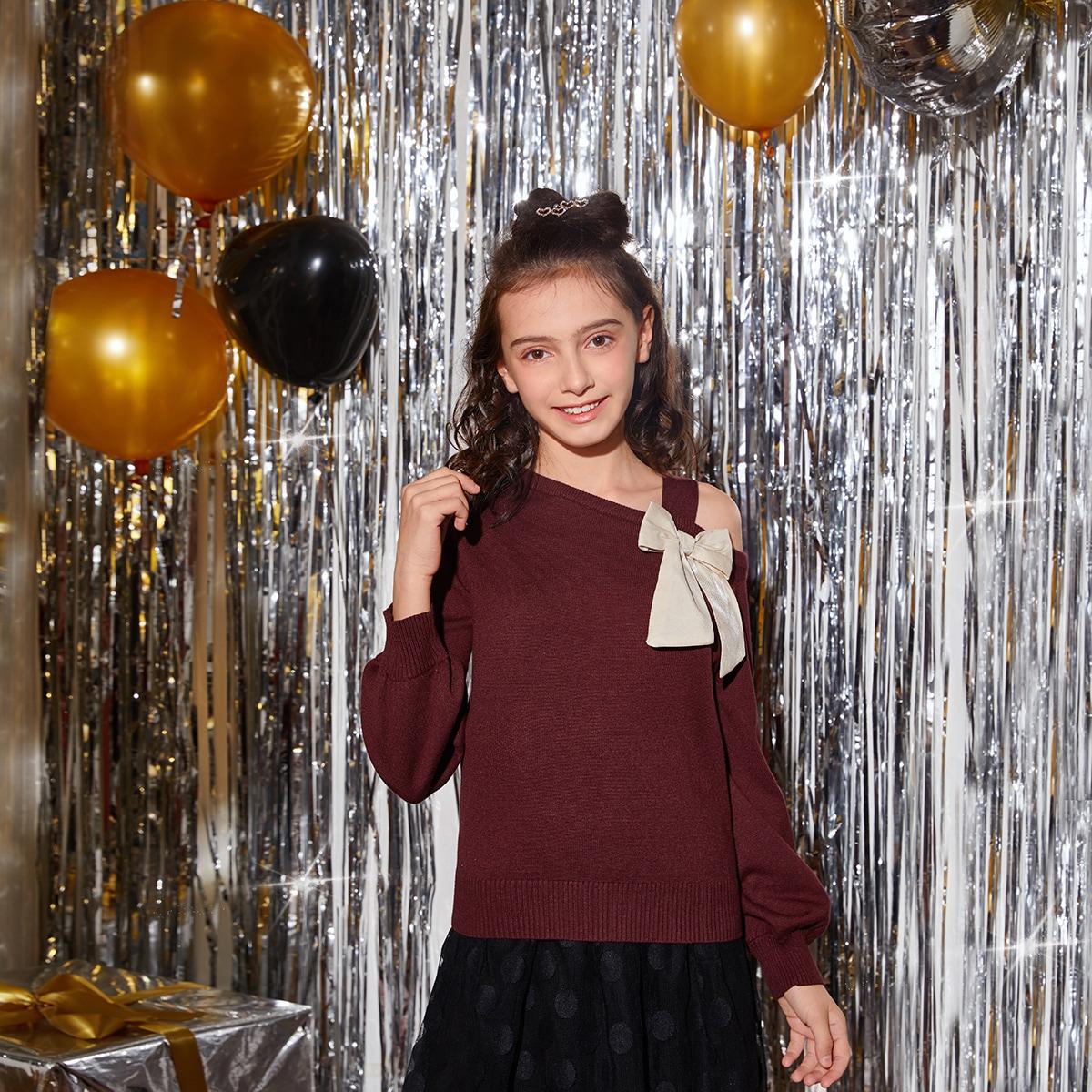 Асимметричный одноцветный повседневный свитера для девочек