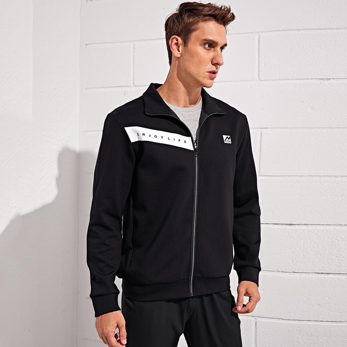 Мужская спортивная куртка с текстовым принтом и молнией