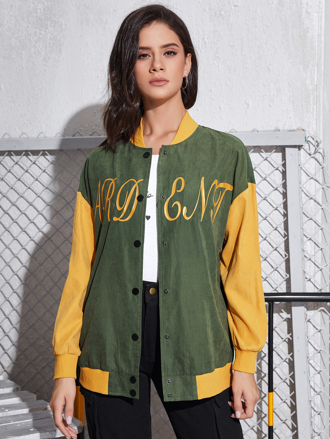 Letter Graphic Colorblock Bomber Jacket thumbnail