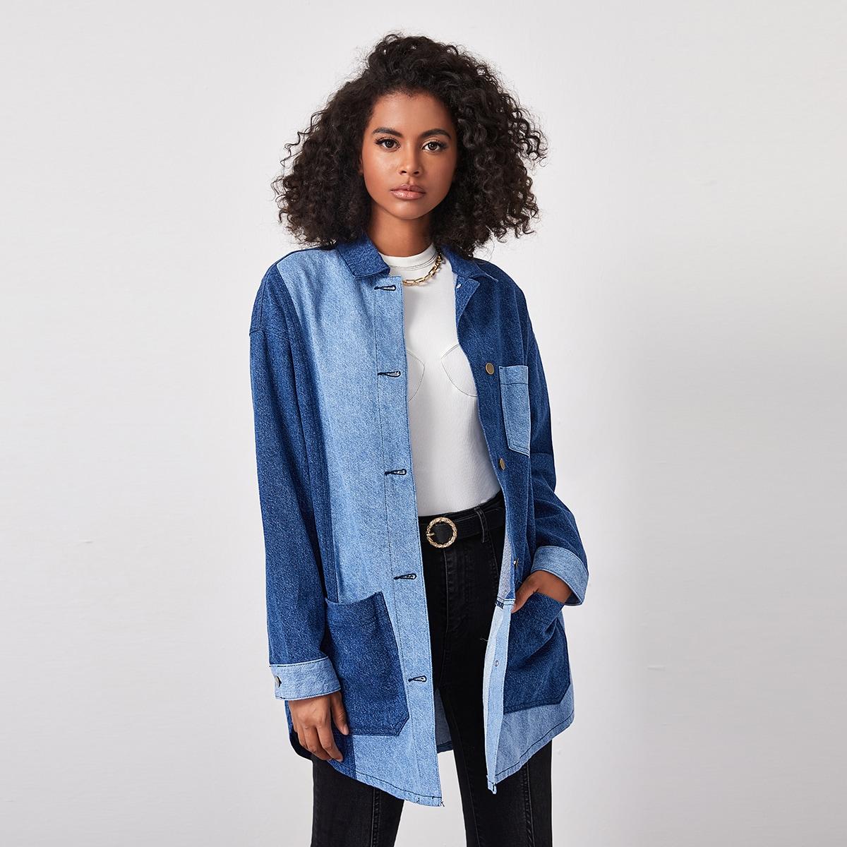 Контрастная джинсовая куртка на пуговицах с карманом