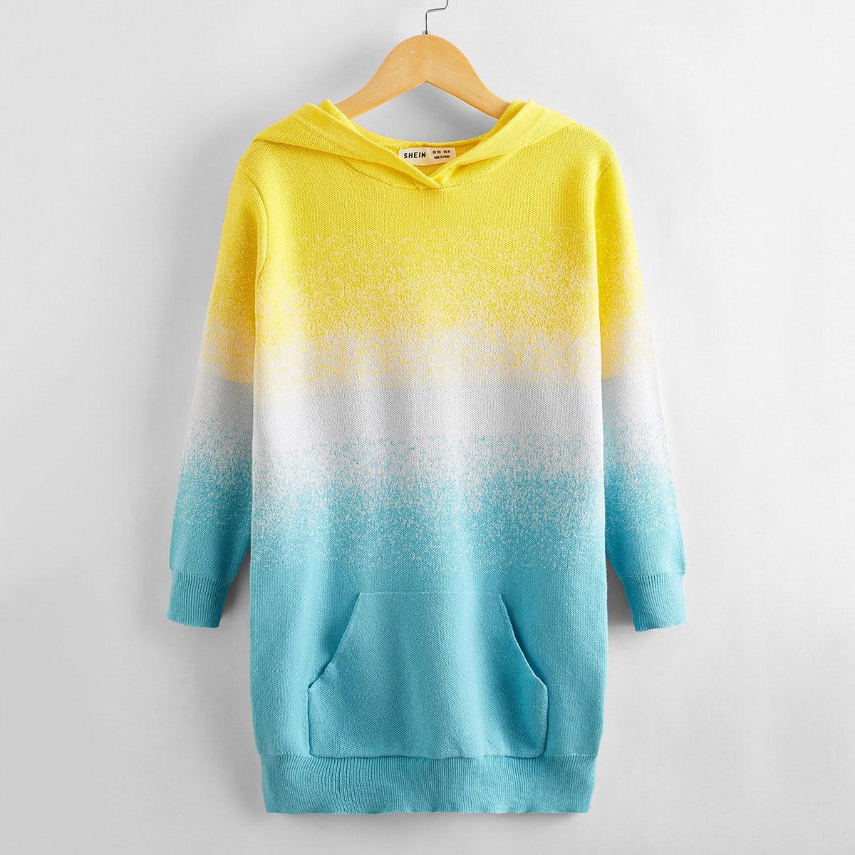 Градиентный свитер с капюшоном и карманом для девочек