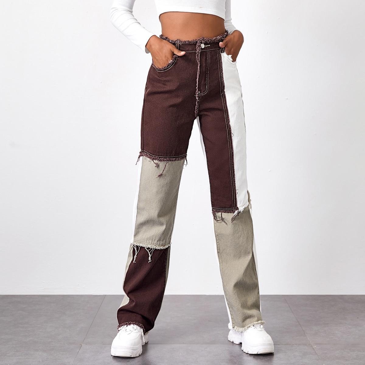 Джинсы с высокой талией и карманом