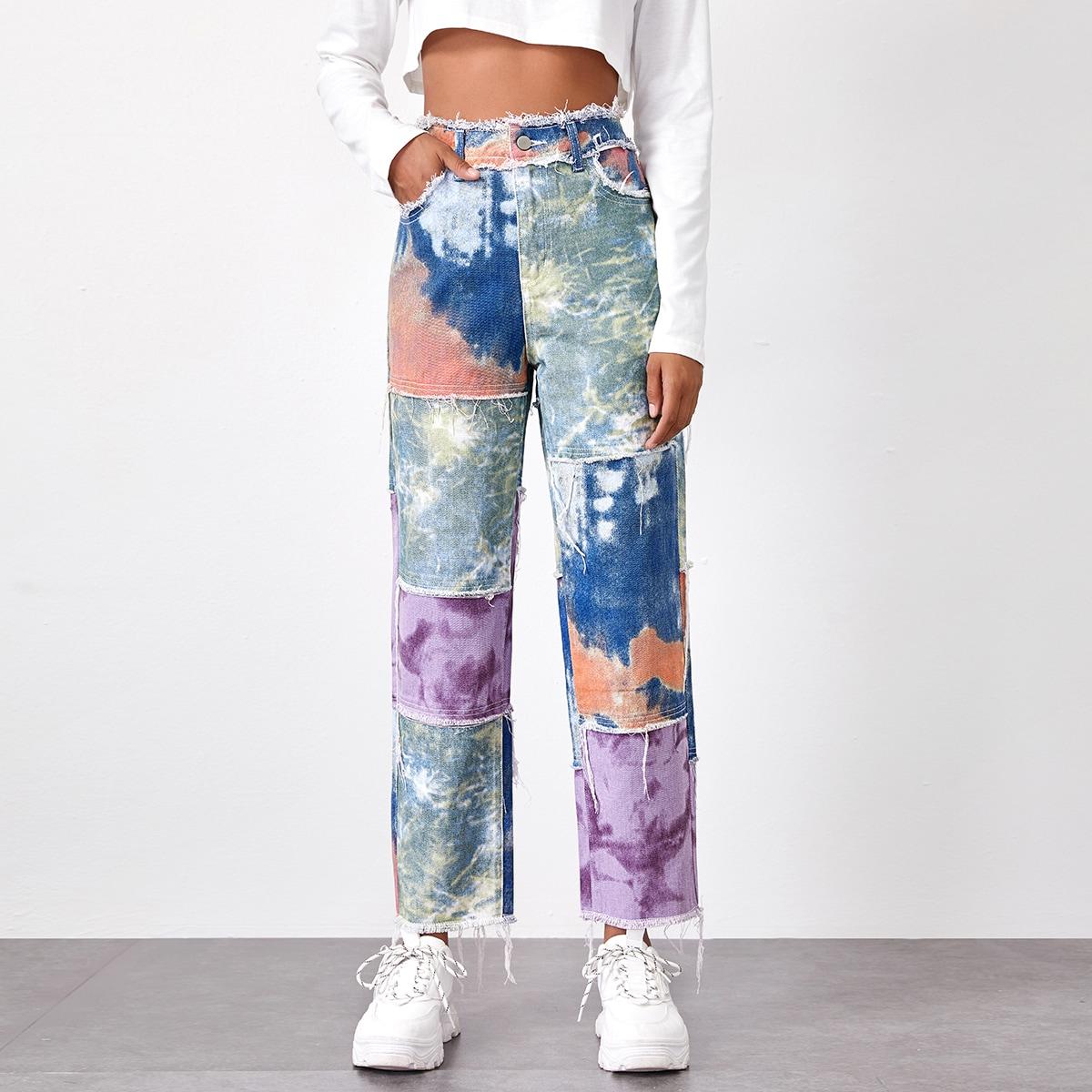 Прямые джинсы с принтом тай дай