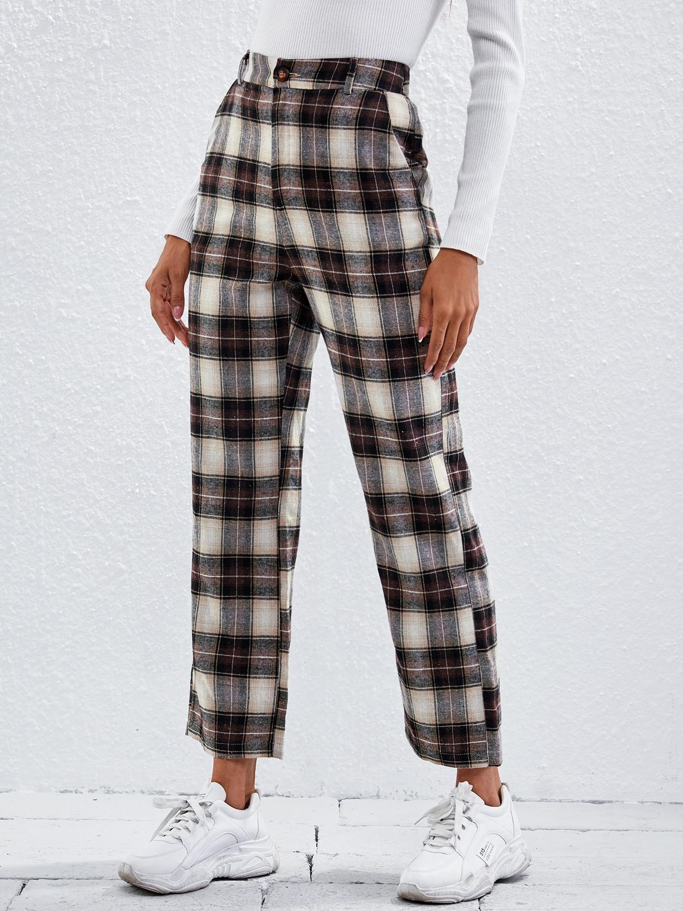 Plaid Straight Leg Crop Pants thumbnail