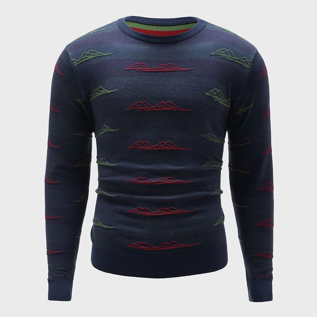 Мужской свитер с графической вышивкой