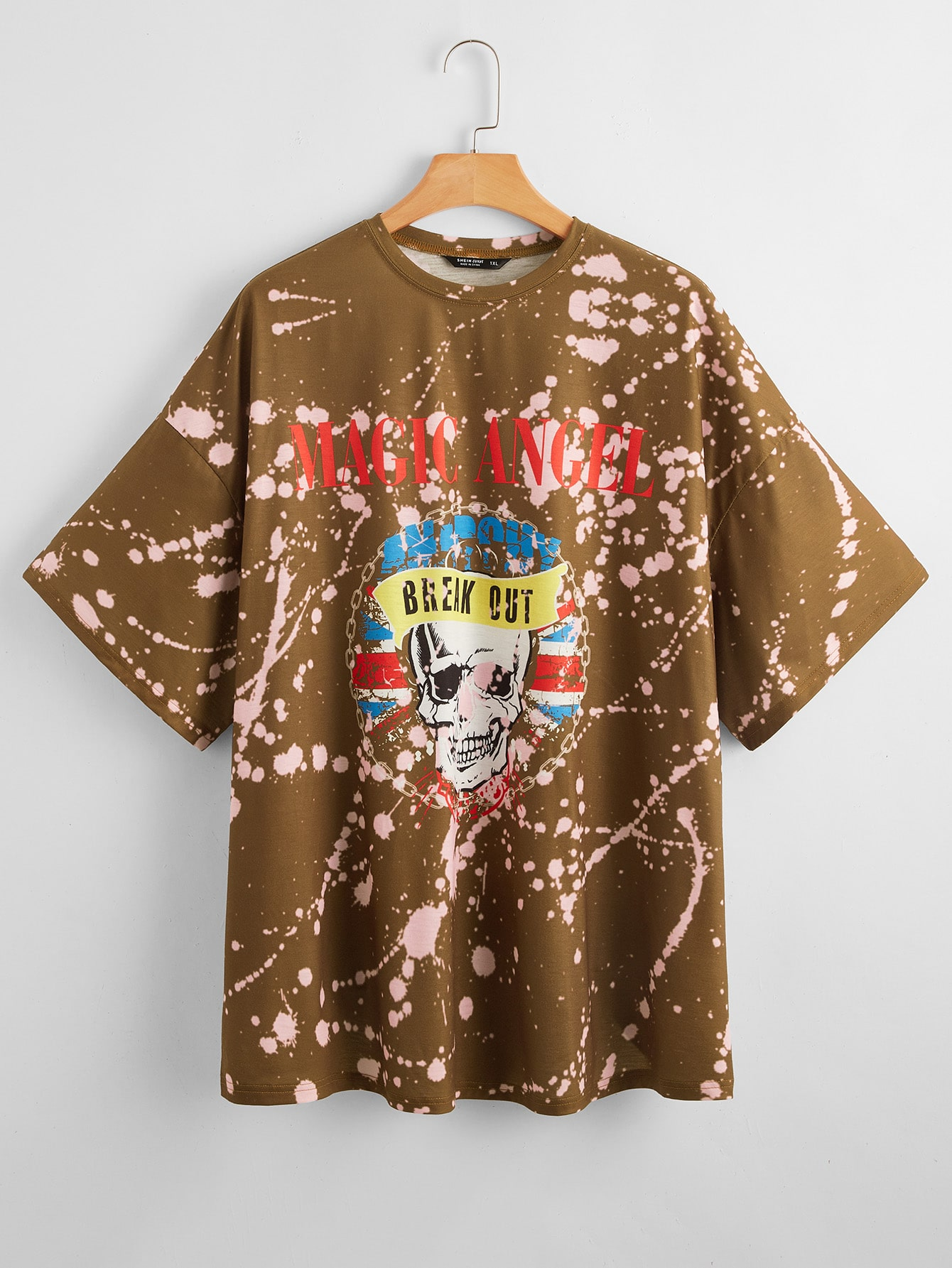 Plus Skull and Letter Graphic Drop Shoulder Top thumbnail