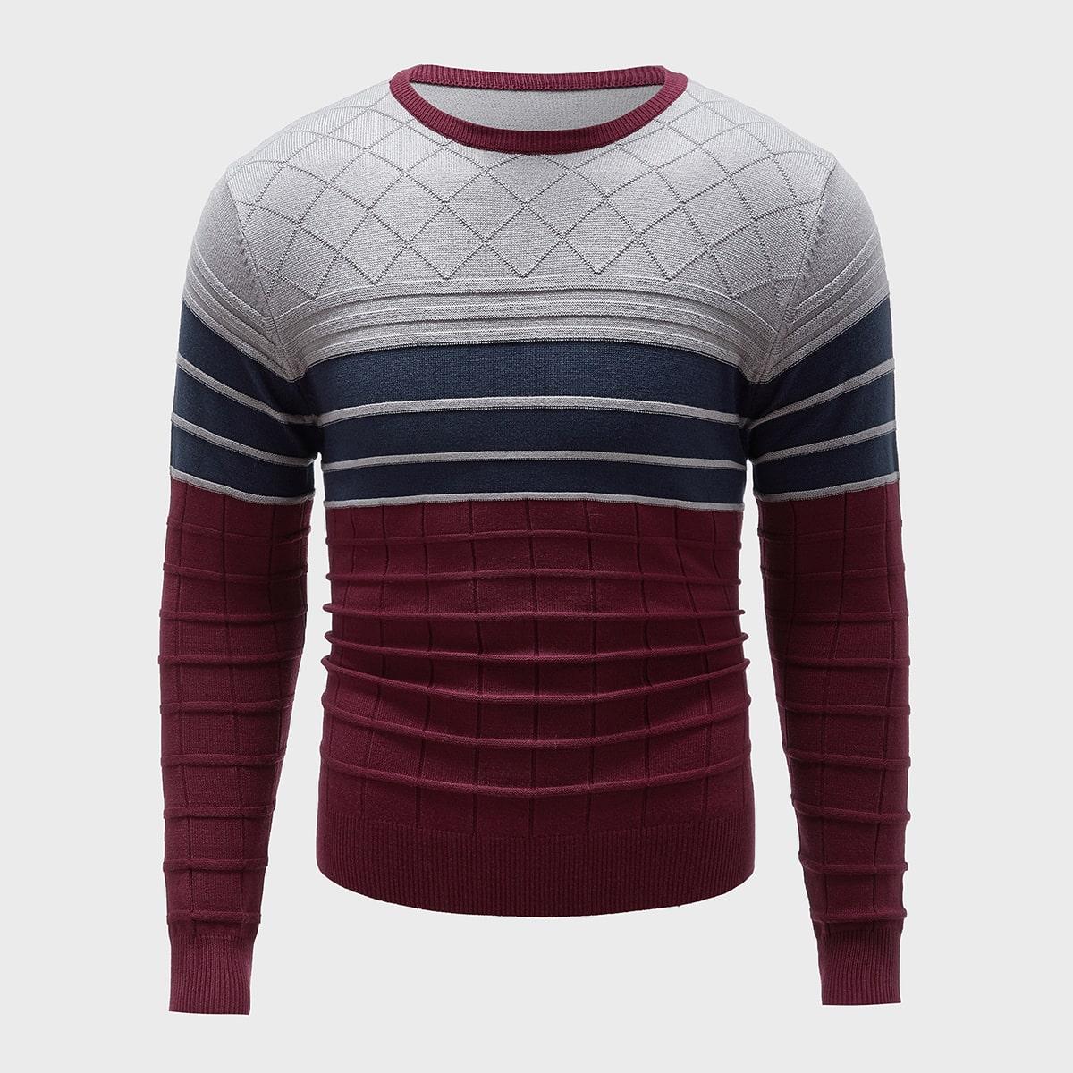 Мужской контрастный свитер с круглым воротником