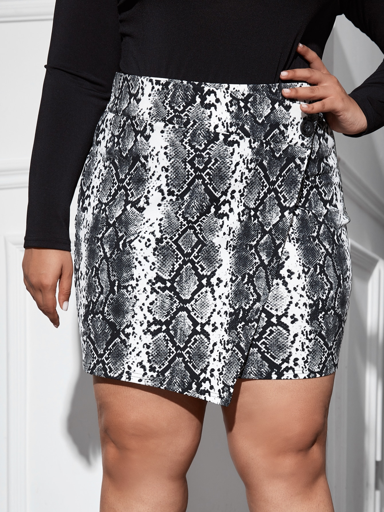 Plus Snakeskin Print Buttoned Wrap Skirt thumbnail