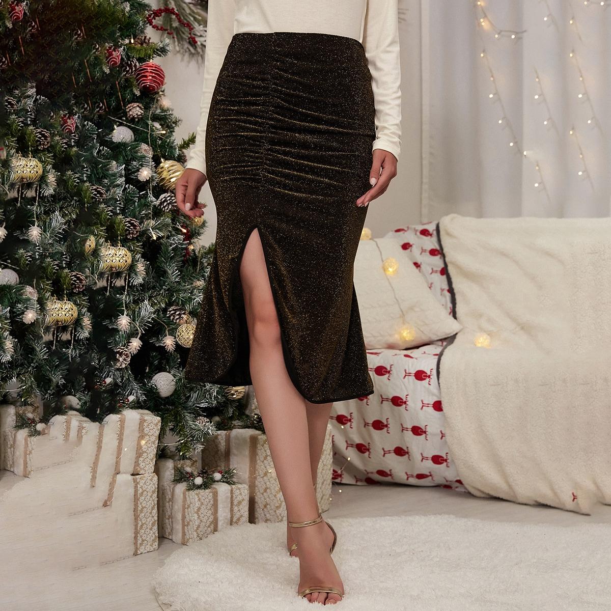 Блестящая юбка-карандаш со сборкой