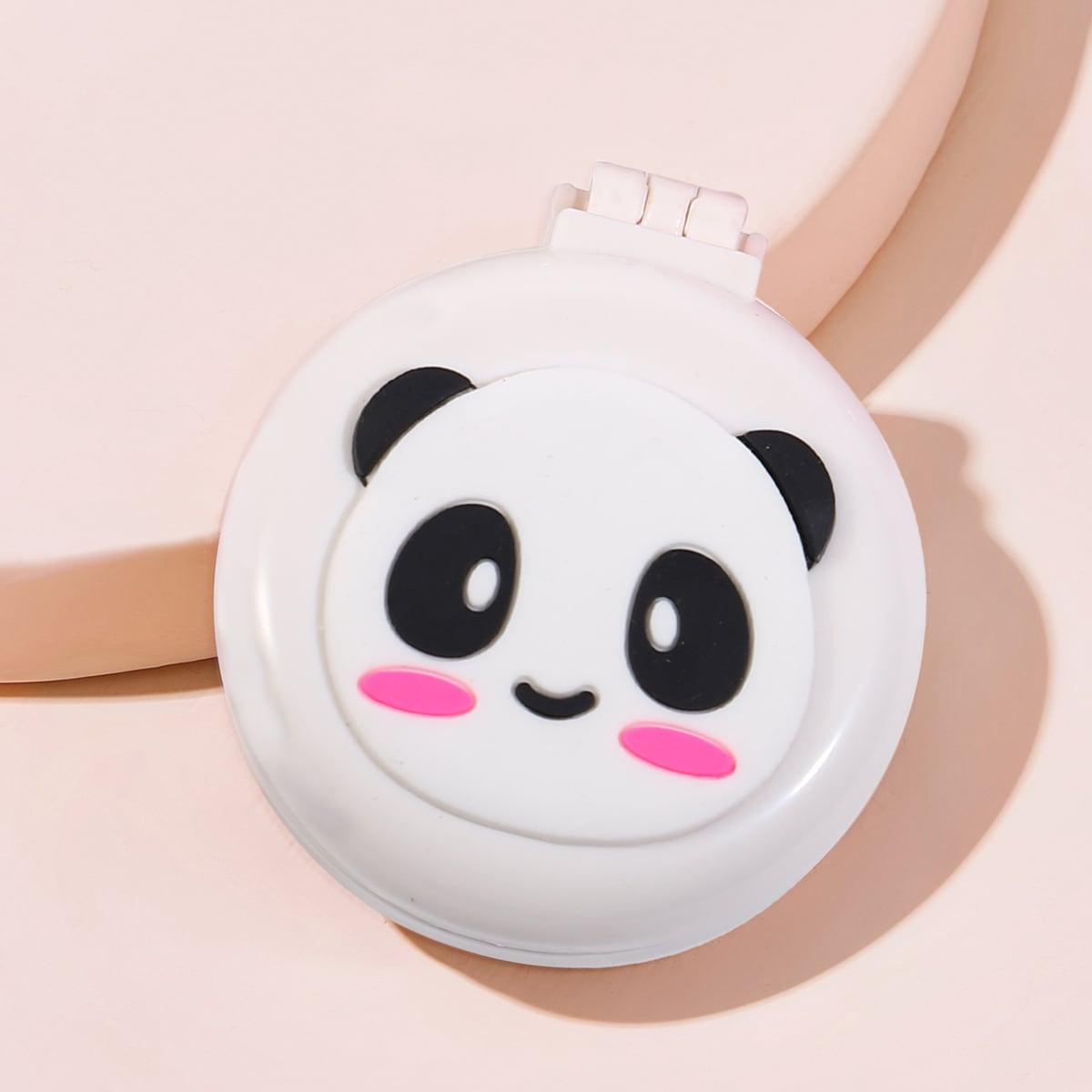Складная расческа с рисунком панды с зеркалом 1шт