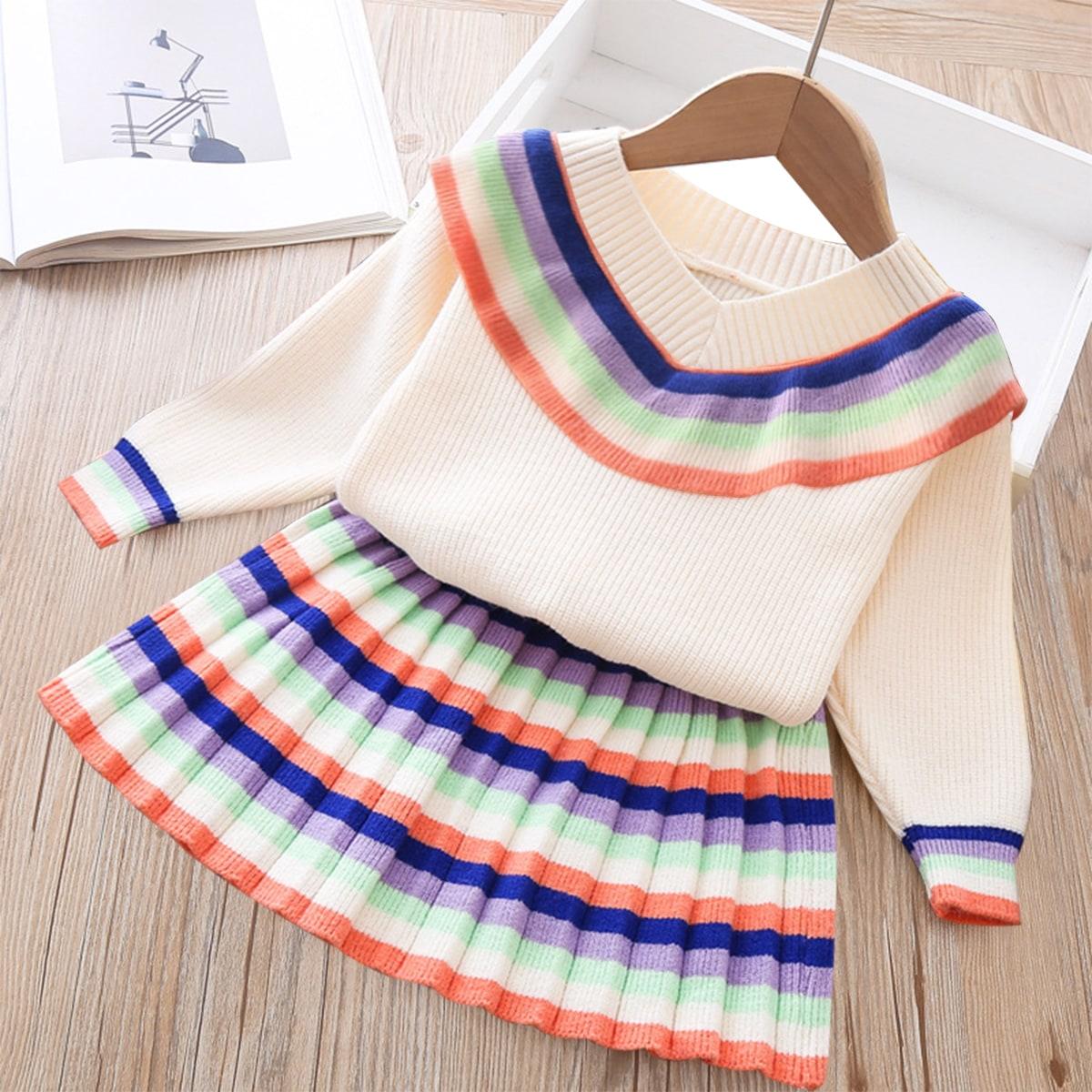 Кардиган с оборкой и плиссированная трикотажная юбка в полоску для девочек