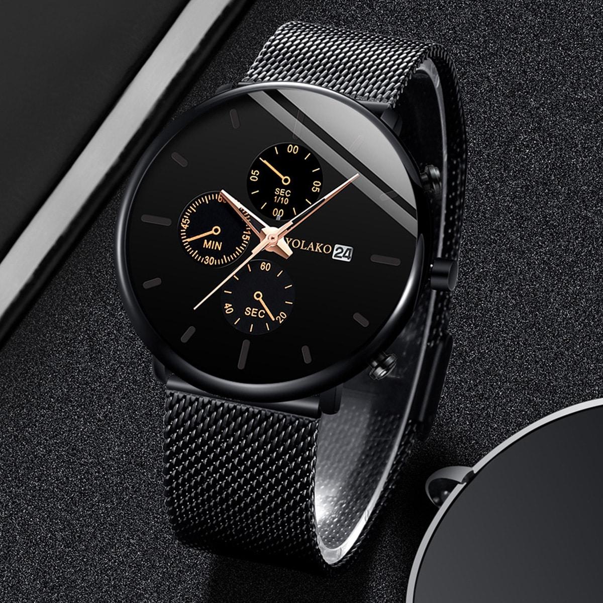 Чёрный Деловый стиль  Мужские часы