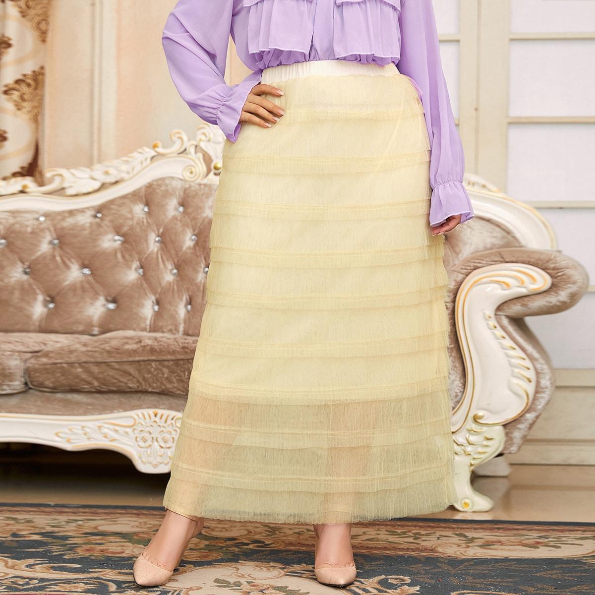 Многослойная сетчатая макси юбка размера плюс