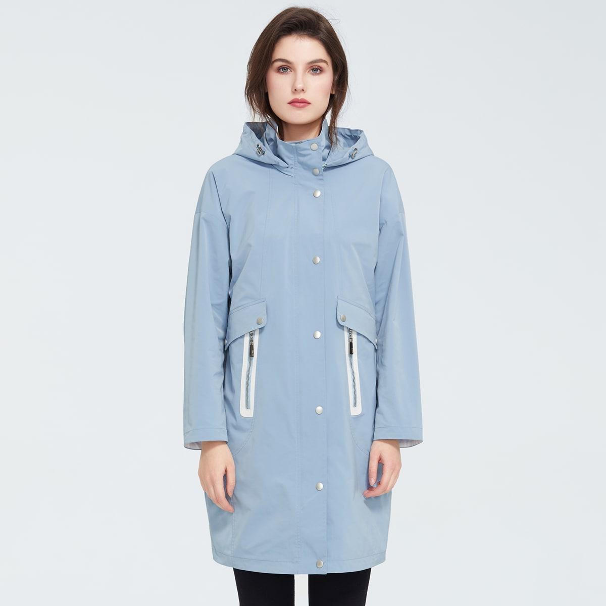 Zipper Pocket Drawstring Hooded Coat