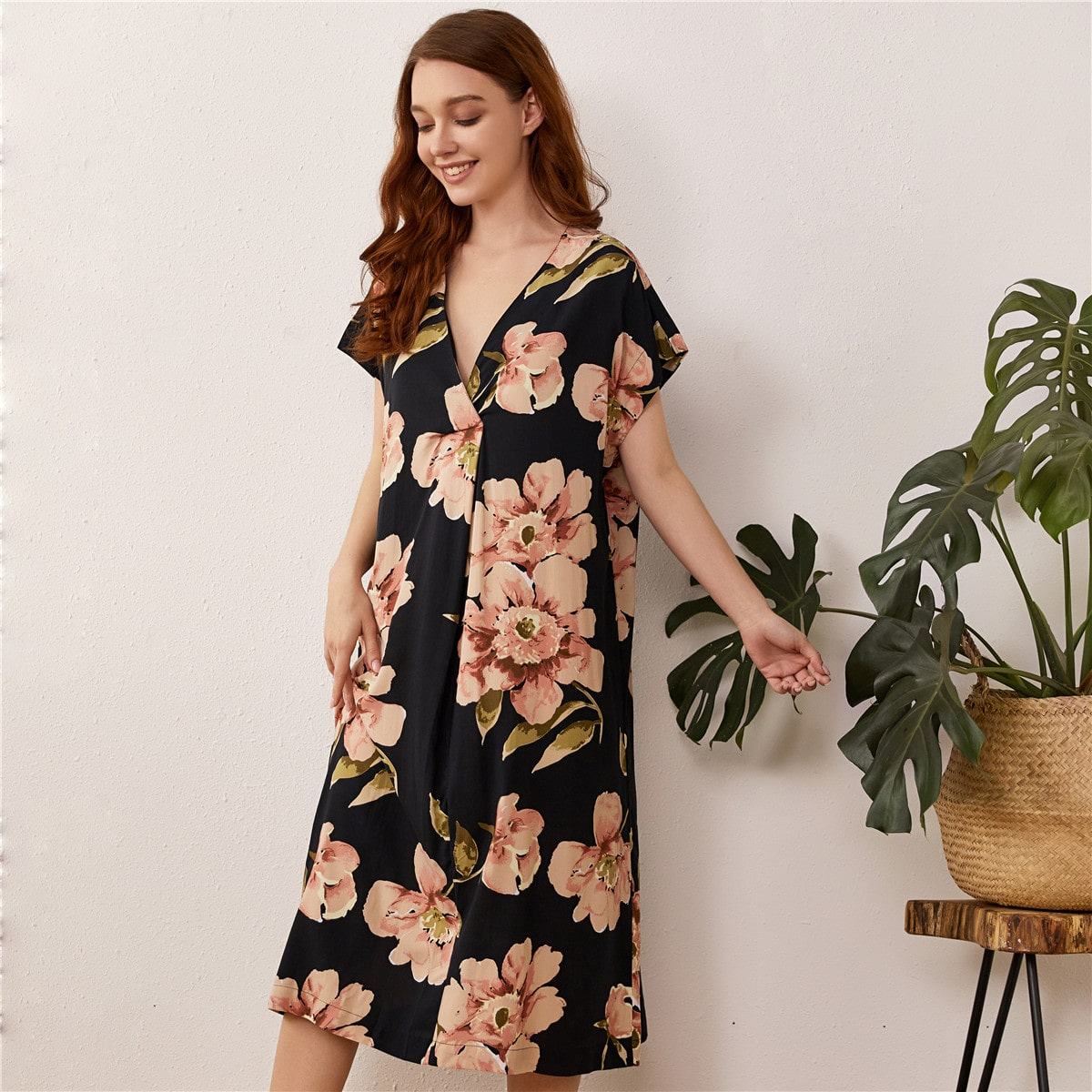 Со цветочками Элегантный Ночная рубашка