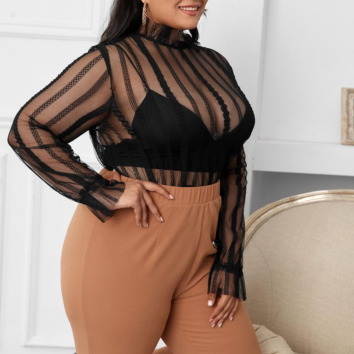 Сетчатая прозрачная блузка размера плюс