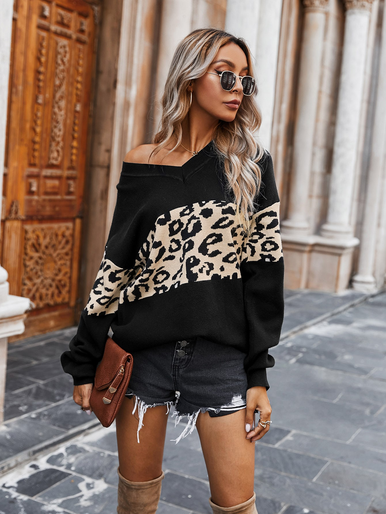 Drop Shoulder Contrast Leopard Sweater thumbnail