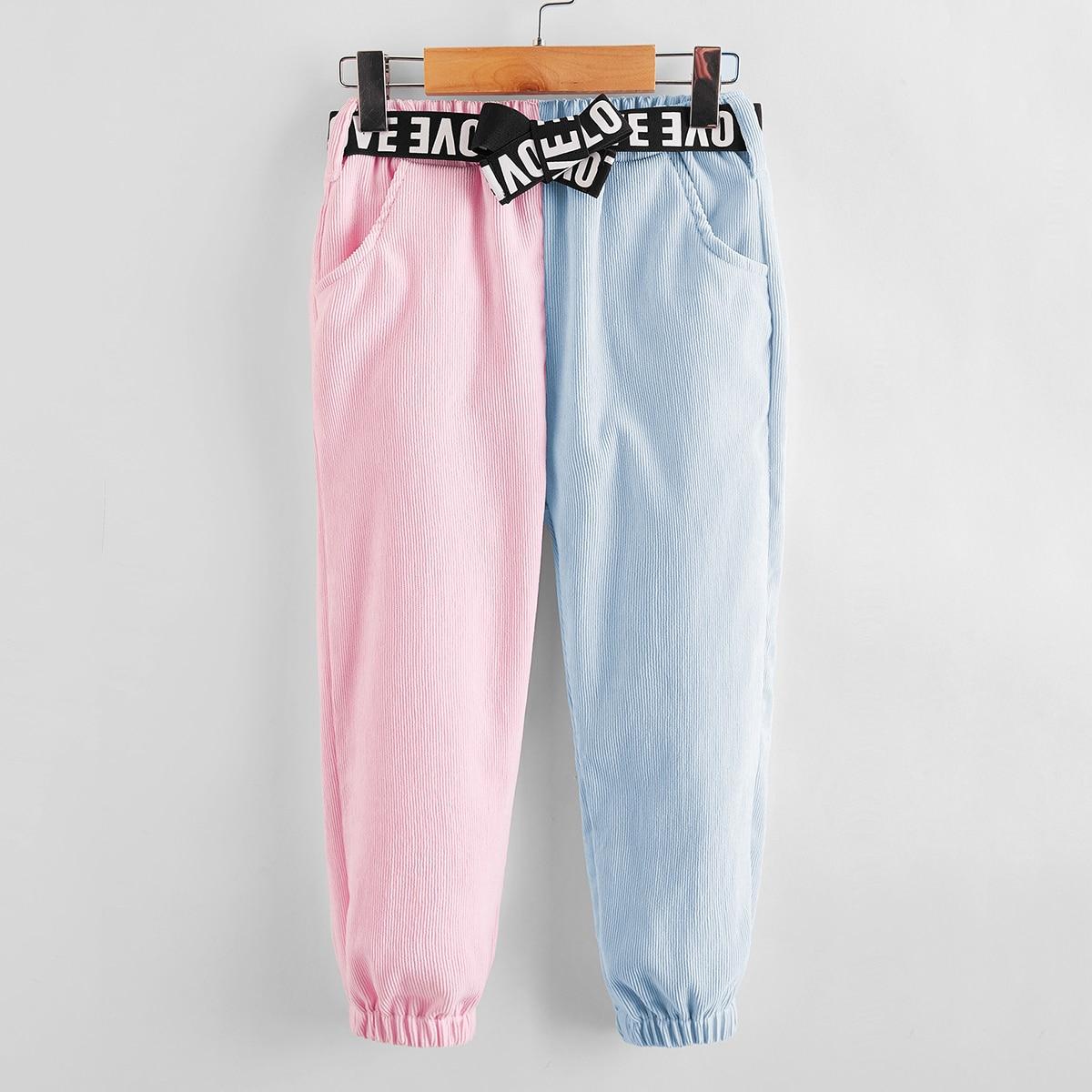 Пояс контрастный повседневный брюки для маленьких девочек