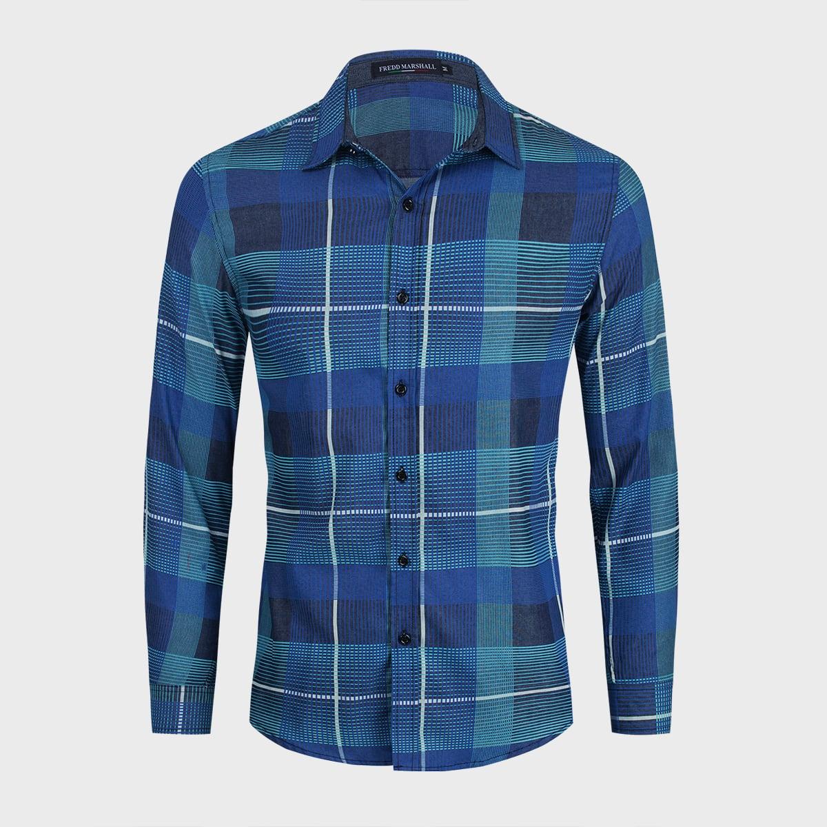 Пуговица клетчатый институтский мужские джинсовые рубашки