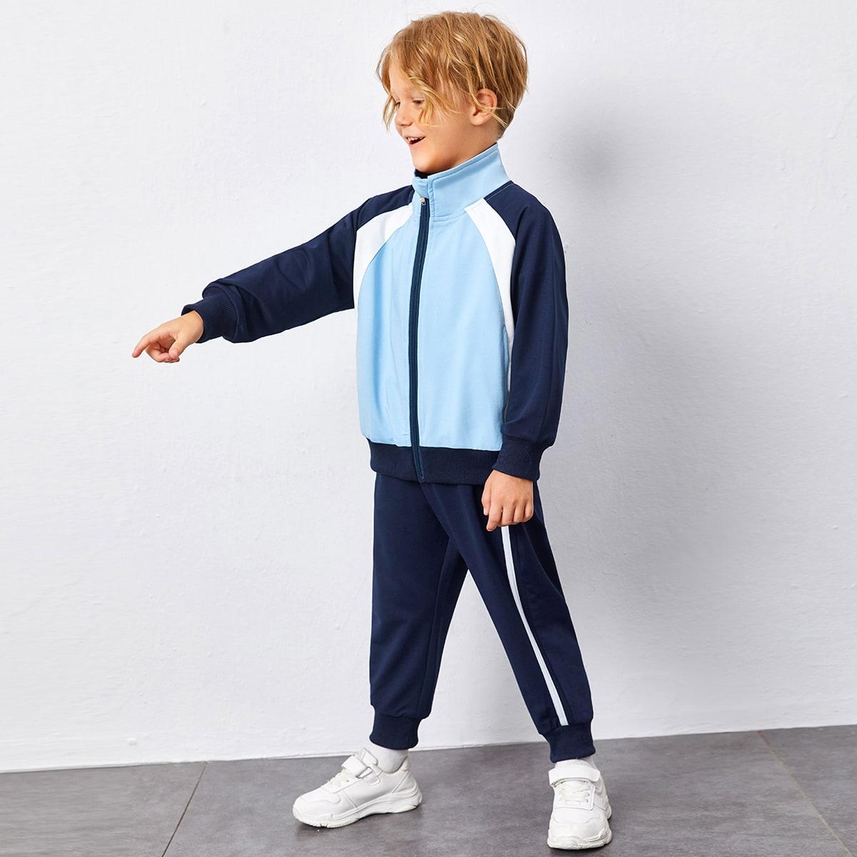 Застежка Контрастный цвет Спортивный Комплекты для мальчиков
