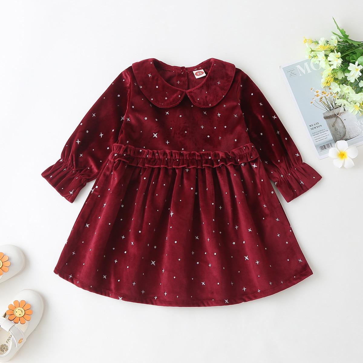 С воланами принт космос очаровательный платья для малышей