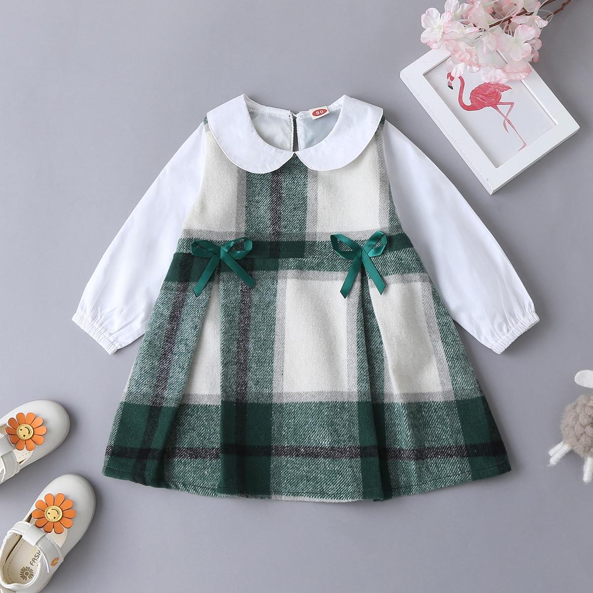 Платье в клетку с бантом для девочек от SHEIN