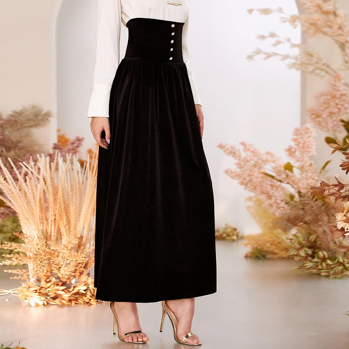 Бархатная юбка с высокой талией и пуговицами