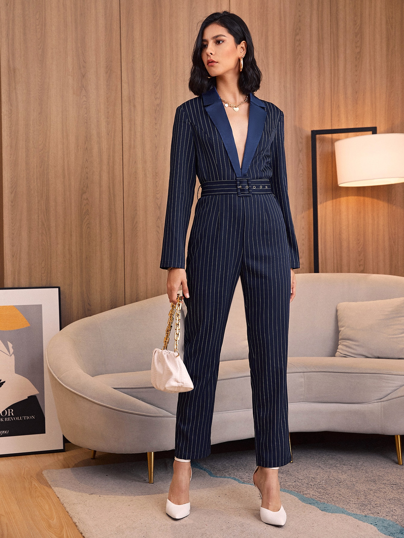 Notched Collar Buckle Belted Striped Jumpsuit thumbnail