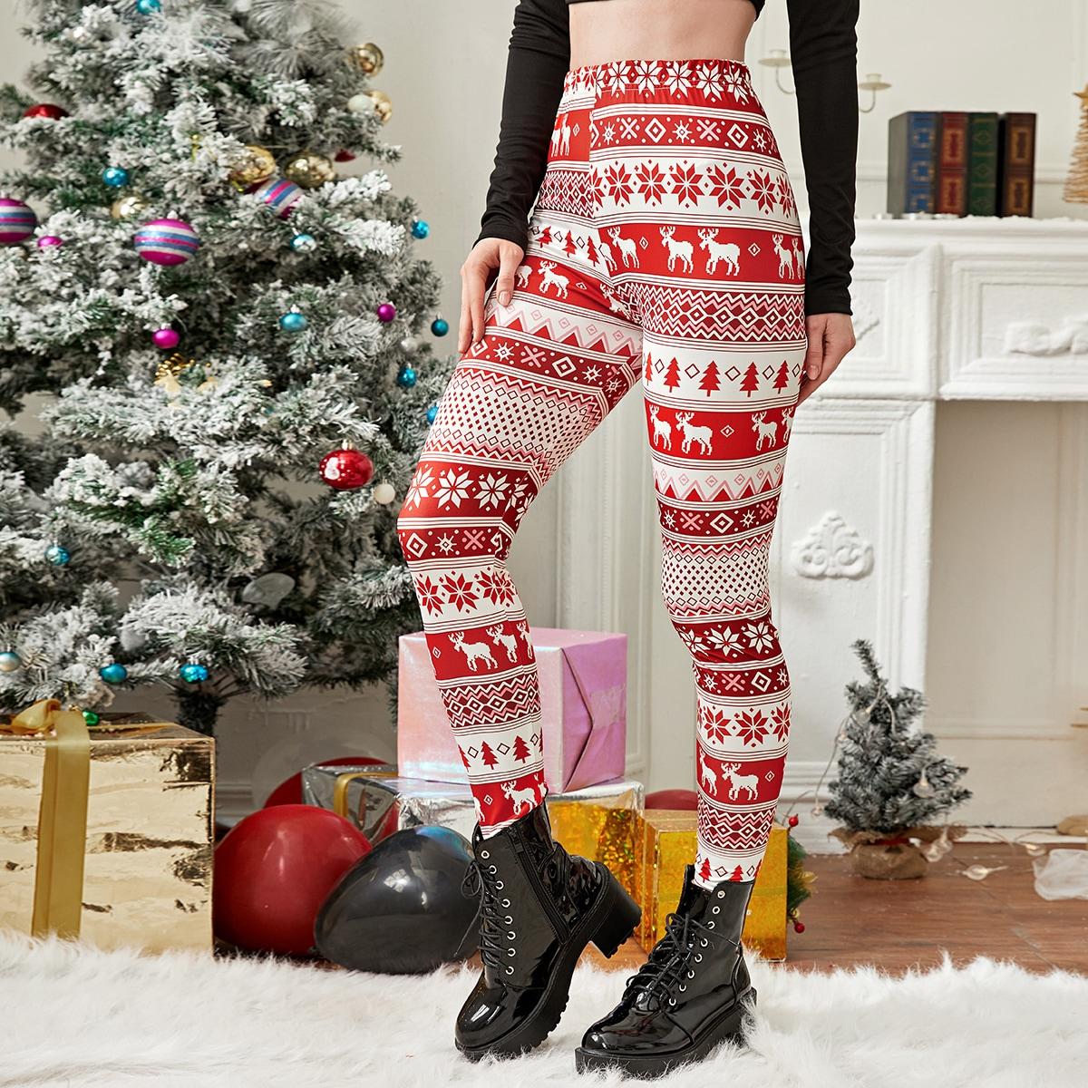 Рождество повседневный леггинсы