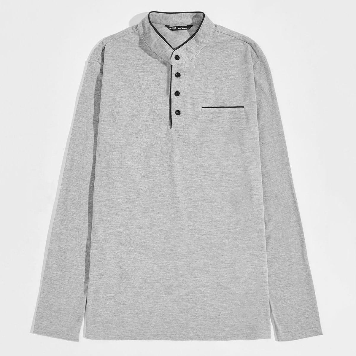 Однобортный одноцветный институтский мужские рубашки поло