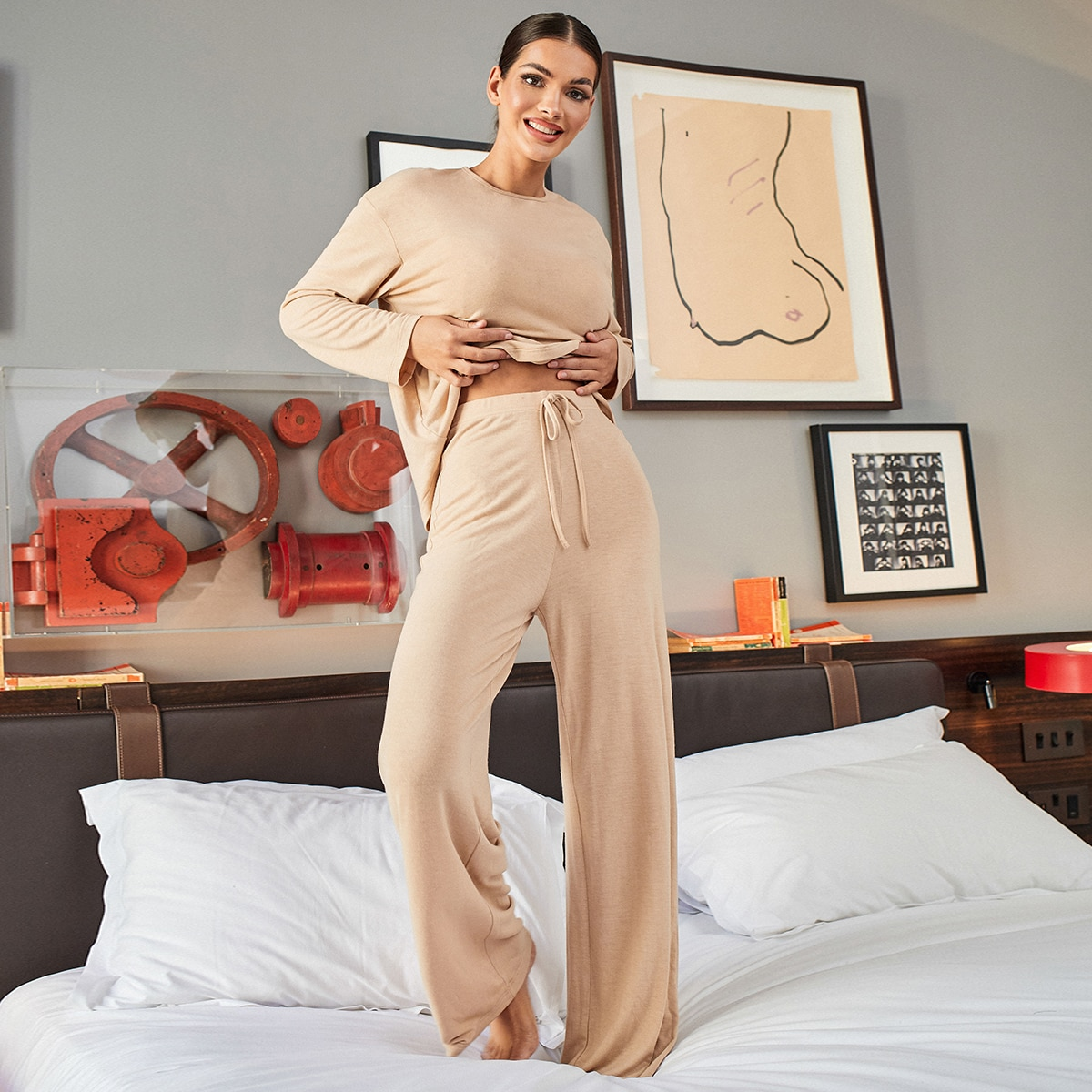 Drop Shoulder Solid Top & Knot Front Pants Set, SHEIN  - buy with discount