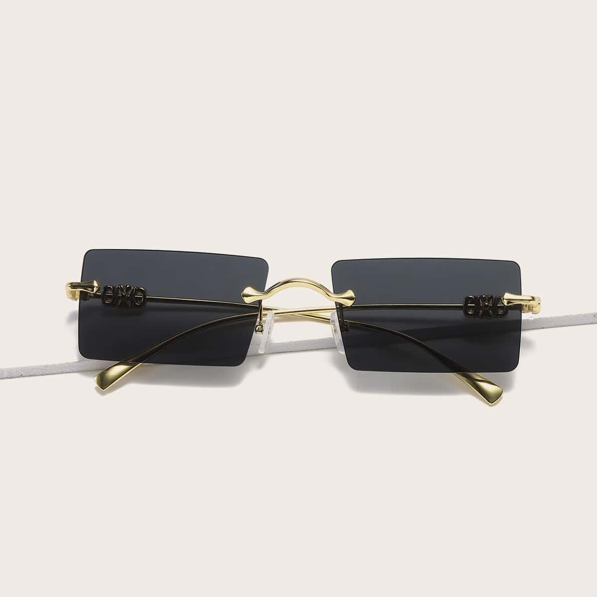 Солнцезащитные очки без оправы с прямоугольными линзами
