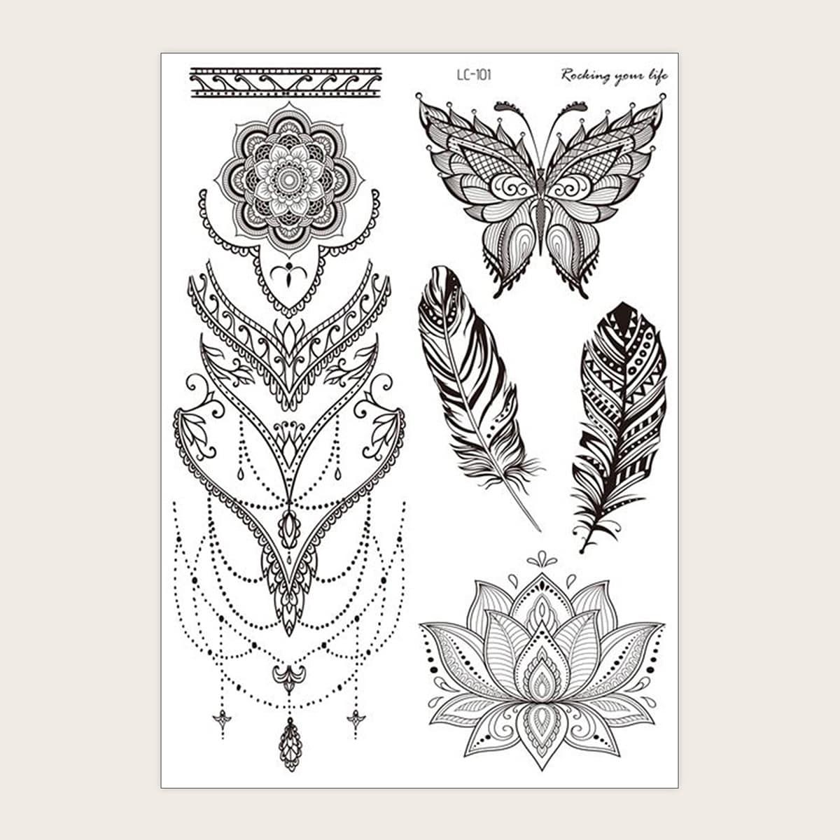 1 feuille Sticker de tatouage avec motif papillon et fleur